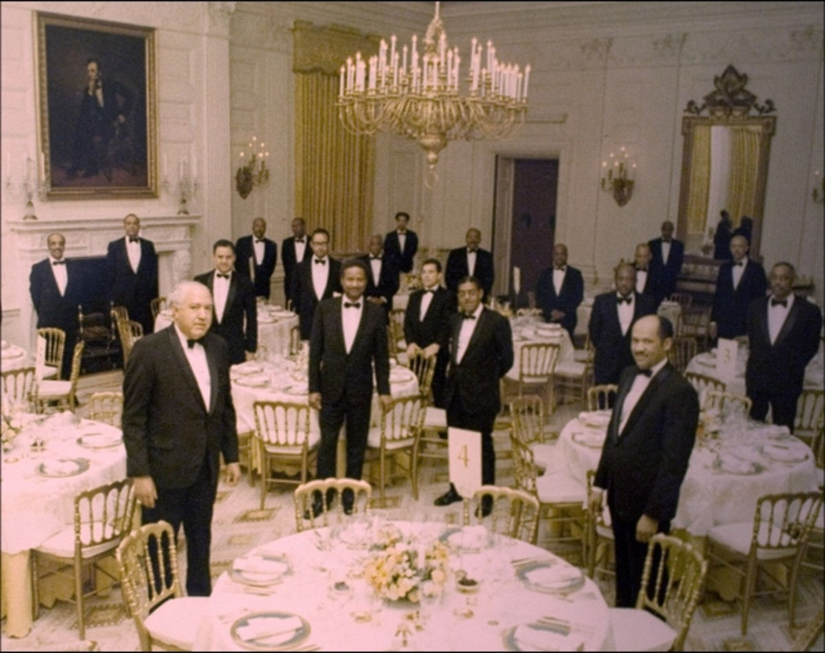 Banquet at the White House, 1955. Butler Eugene Allen, front right.