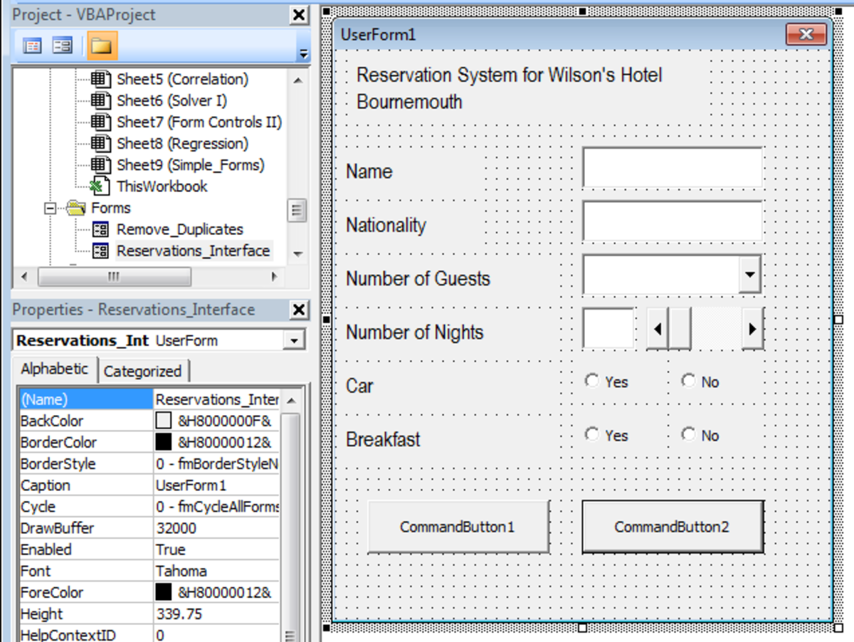 UserForm with Controls added as well as Text Boxes in Excel 2007 or Excel 2010.