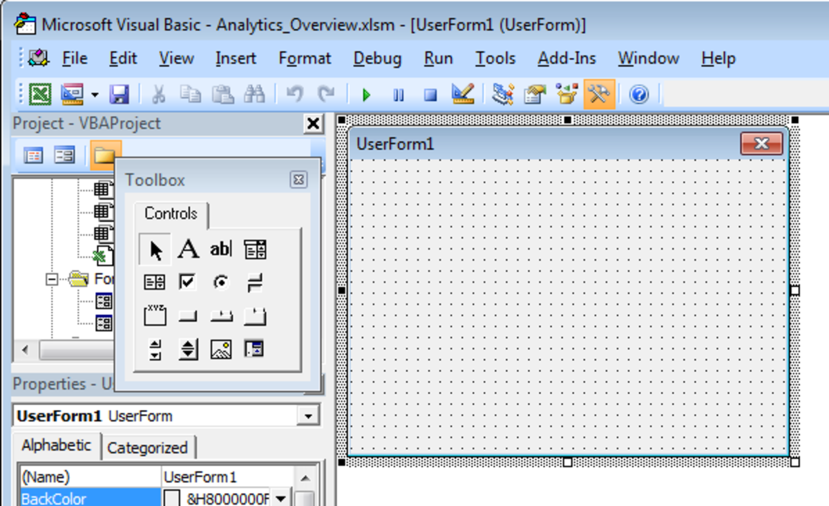 Blank UserForm created in Excel 2007 and Excel 2010.