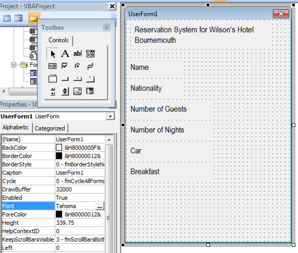 UserForm with Text Boxes added in Excel 2007 or Excel 2010.