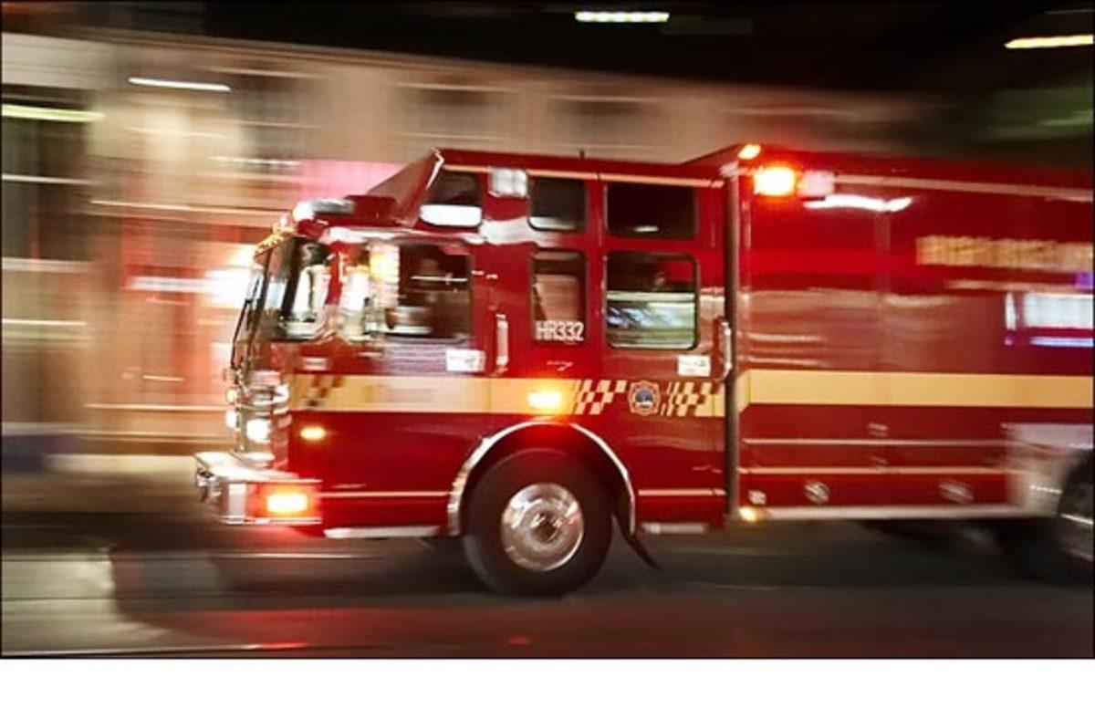 Firetruck rushing to an emergency scene
