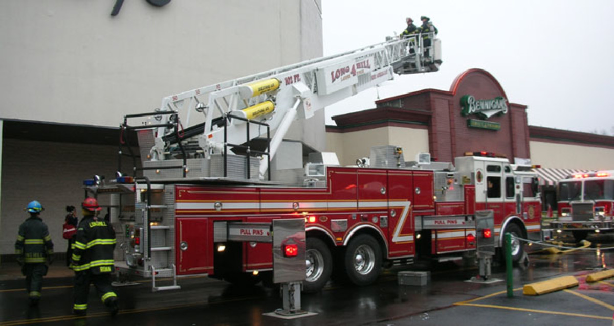 Ladder truck with ladder extended
