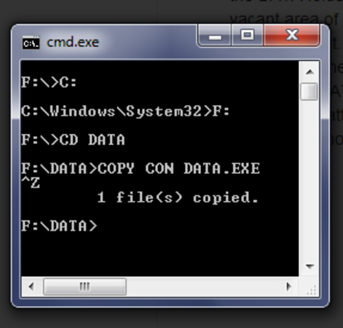 By creating a DATA.EXE file in the command prompt will  protect your DATA folder from virus attack.
