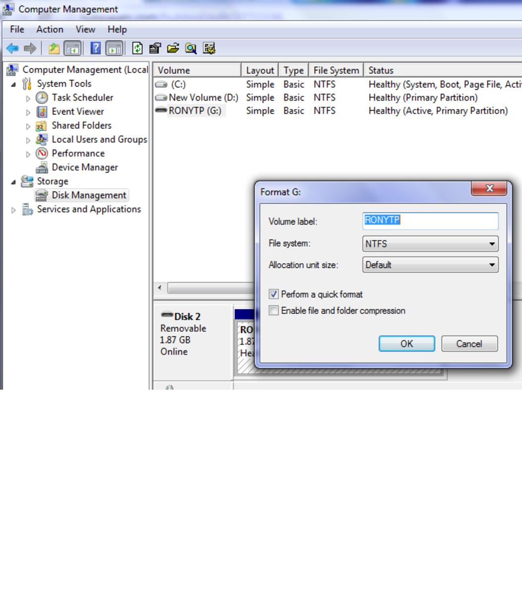 Formatting USB drive using computer management.