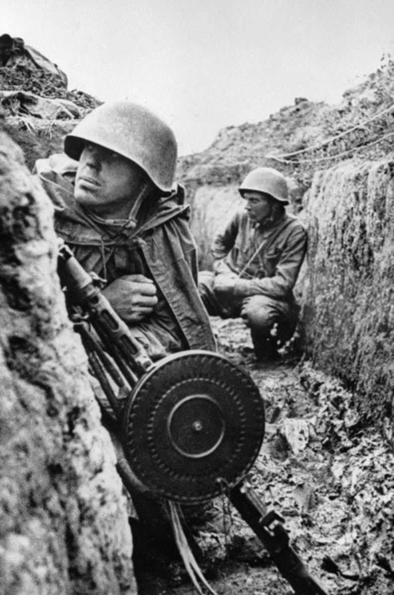 Soviet soldiers in a trench near Leningrad prior to an offensive against the Axis siege.