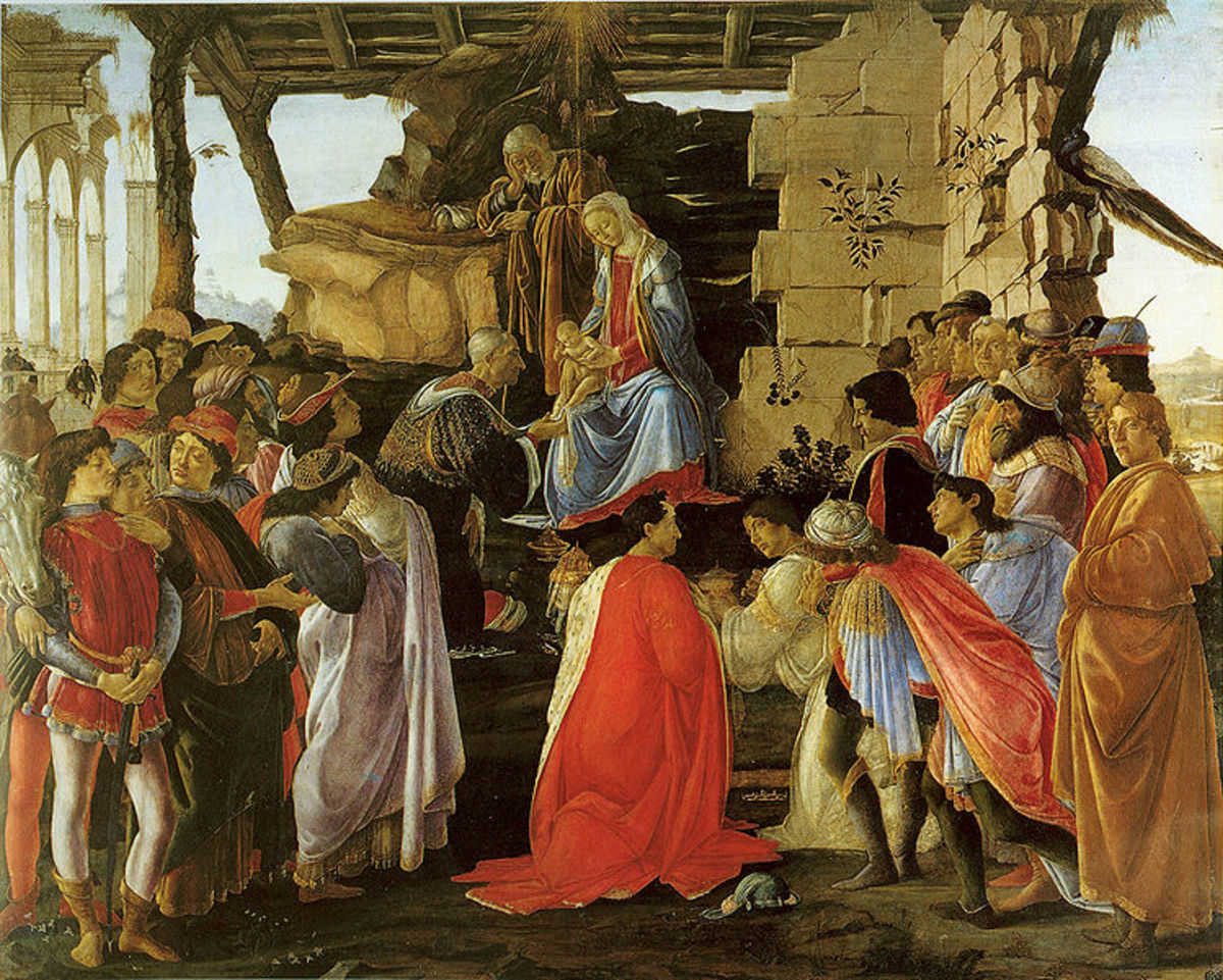 'Adoration of the Magi' (1475-1476) today hangs in the Uffizi Gallery in Florence.  To the far right is the self-portrait of Botticelli.