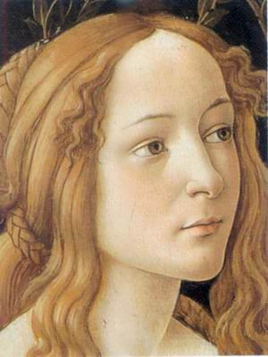 A close-up and example of the grace, beauty, light and shadow that Botticelli used in his paintings and which made him a popular and much sought out painter during the Early Renaissance