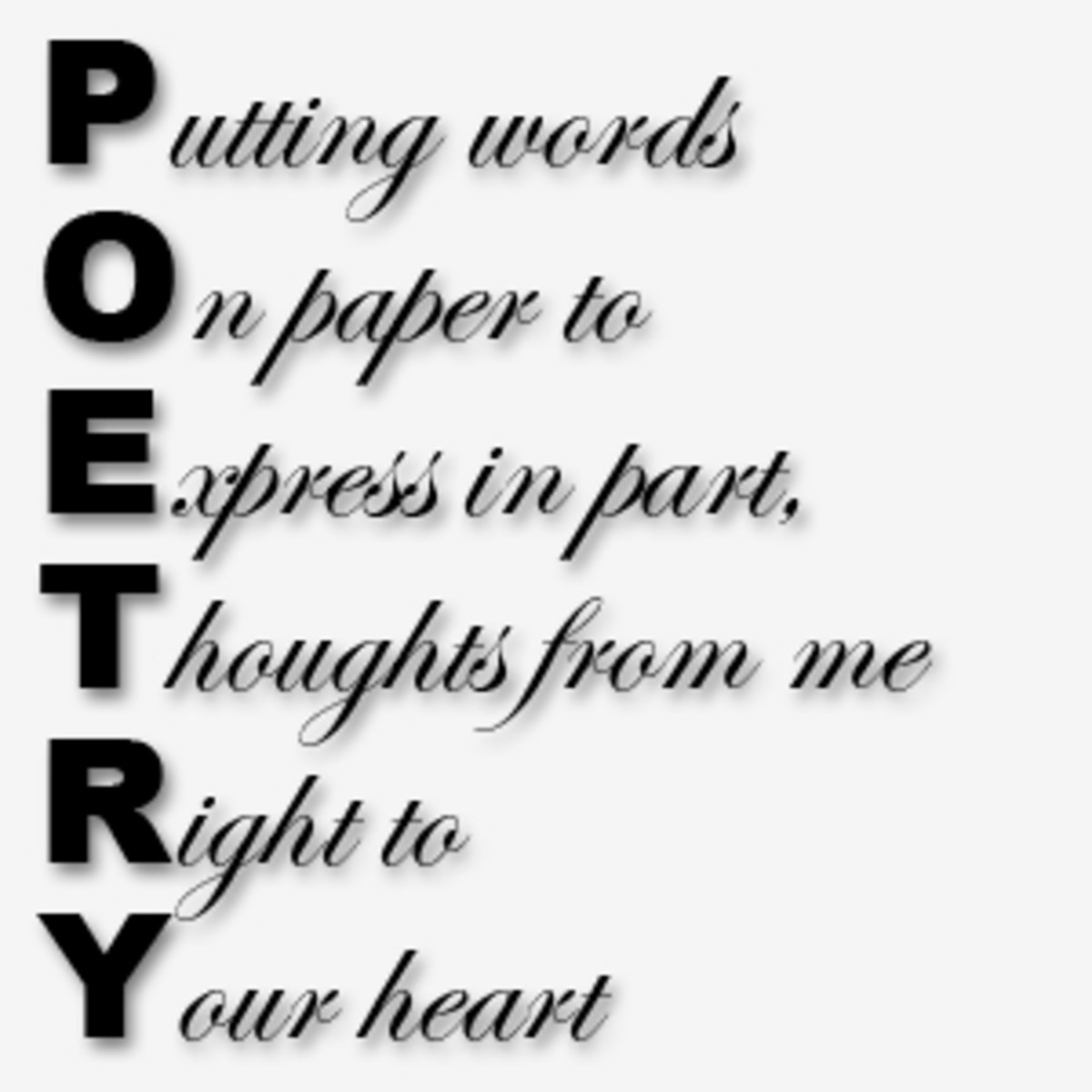 An acrostic poem about poetry by Ron Tranmer