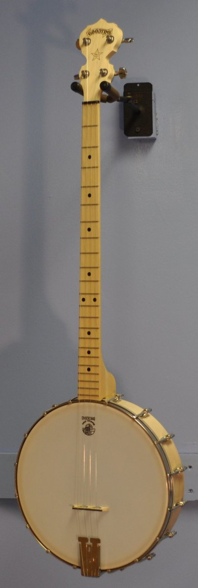 Plectrum banjo being displayed between uses. An observant viewer will see that it has 22 frets, distinguishing it from the tenor banjo.
