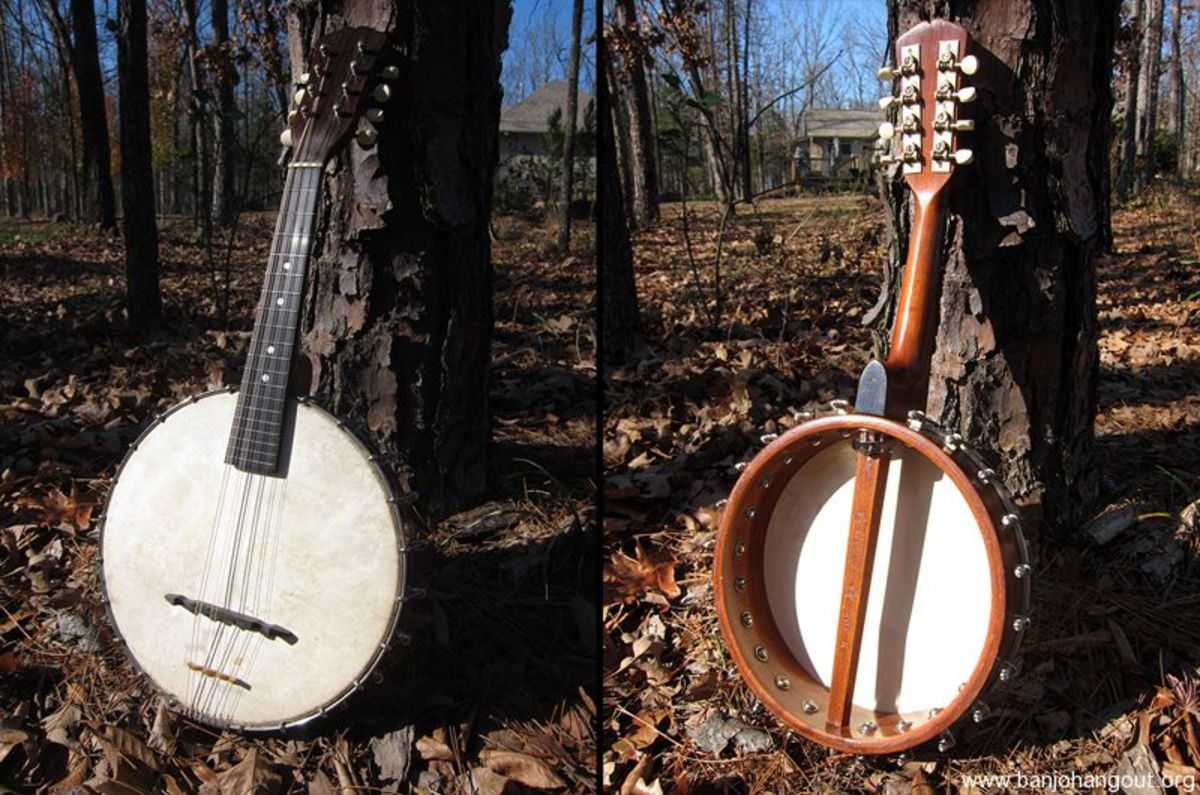 Front and reverse sides of a Mandolin Banjo.