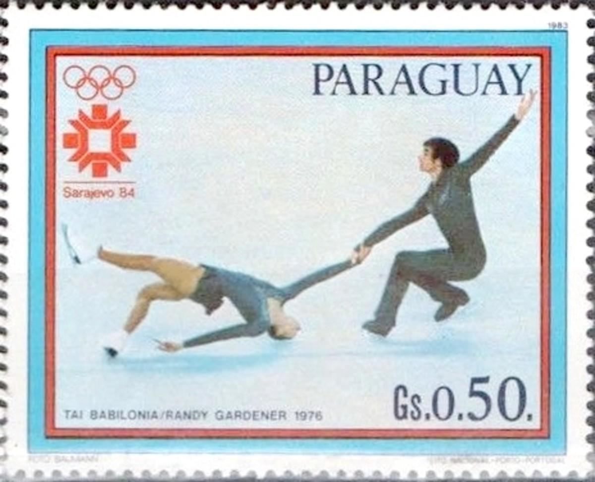 Tai Babilonia and Randy Gardner 1983 Paraguay stamp