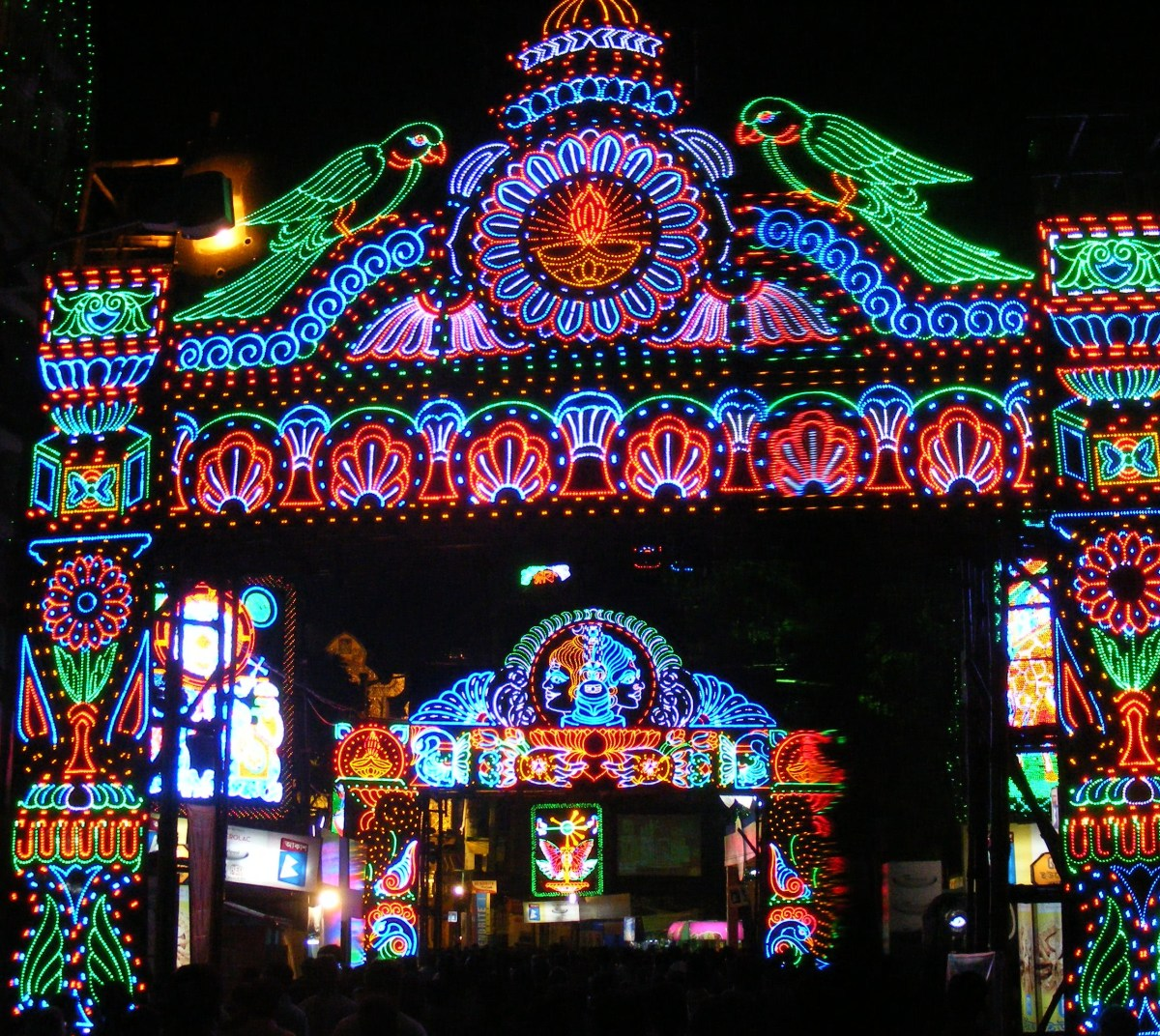 Street lighting during Durga pooja celebrations in Calcutta.