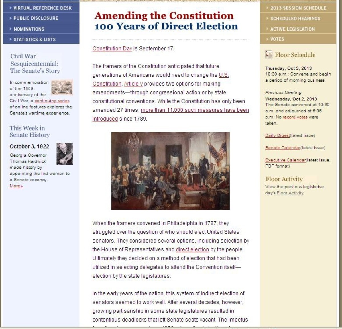During Constitution week 2013, the Senate provided a history of the 17th Amendment on their homepage.  This is a snapshot.