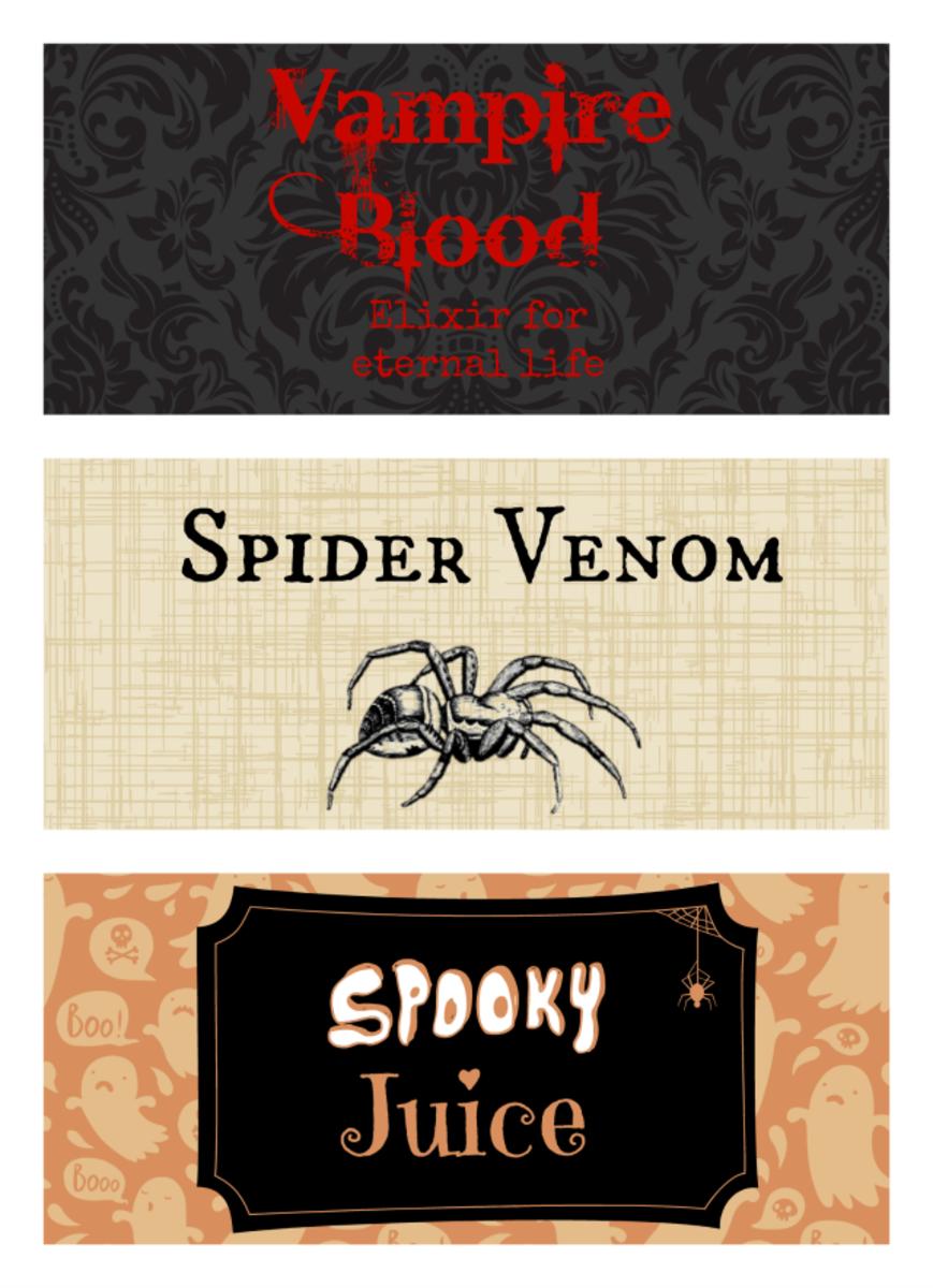 Fun Free Printable Halloween Bottle Labels