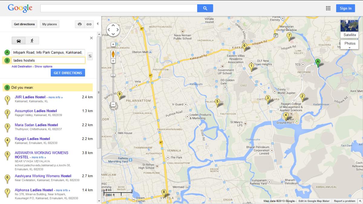 ladies hostel (Google Map) in kakkanad Kochi
