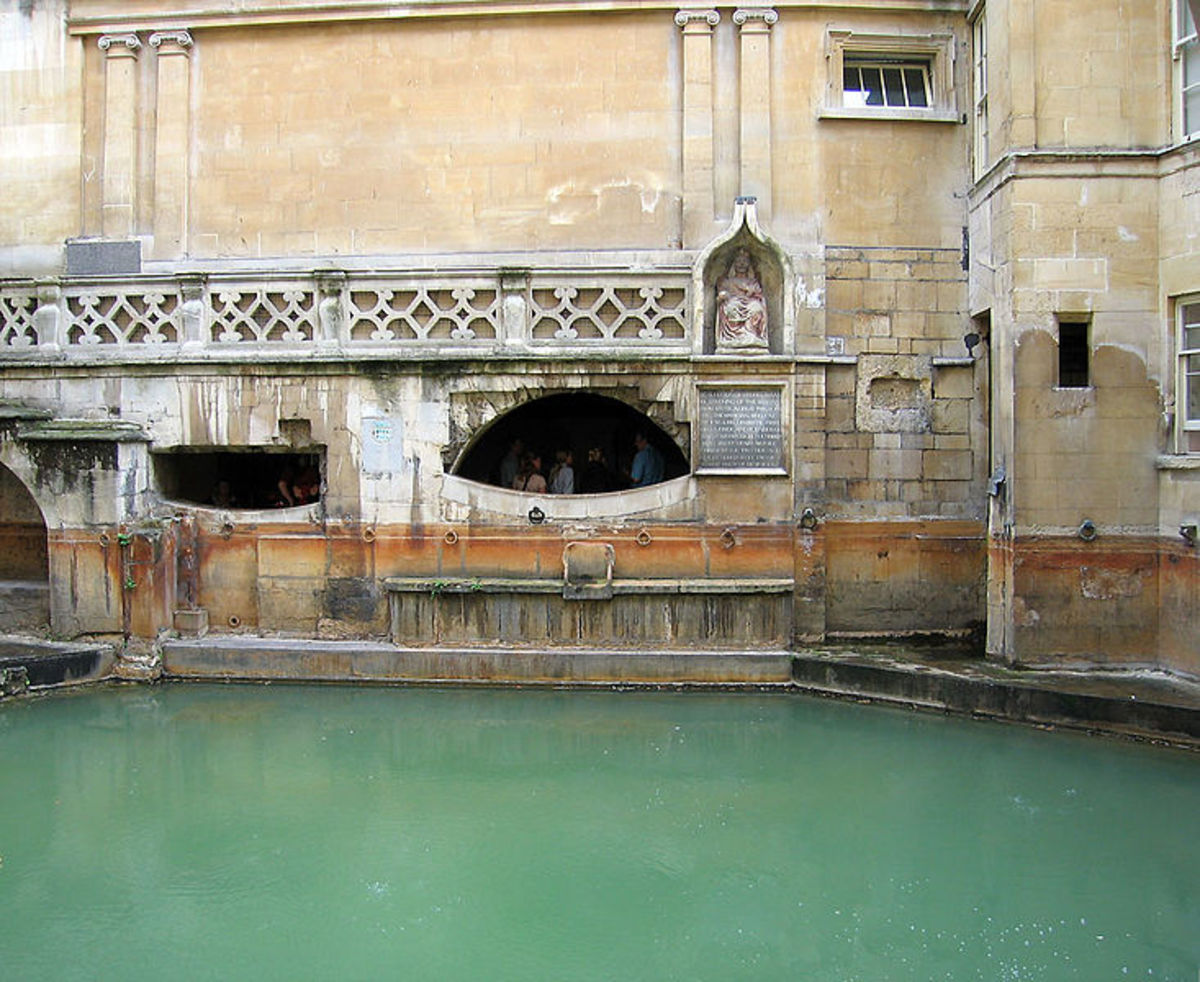 Roman Bath houses in the city of Bath, where the Roman-British deity Sulis Minerva was worshipped.