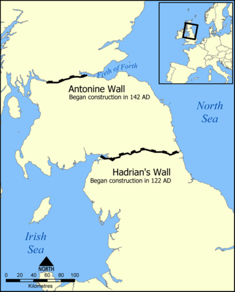 The location and extents of Hadrian's Wall and the Antonine Wall.