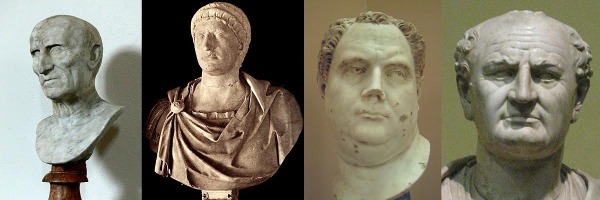 Galba (June AD68-Jan 69), Otho (Jan AD69-Apr 69), Vitellius (Apr AD69-Dec 69), and Vespasian (Dec AD69-79), the Four emperors in the civil war.