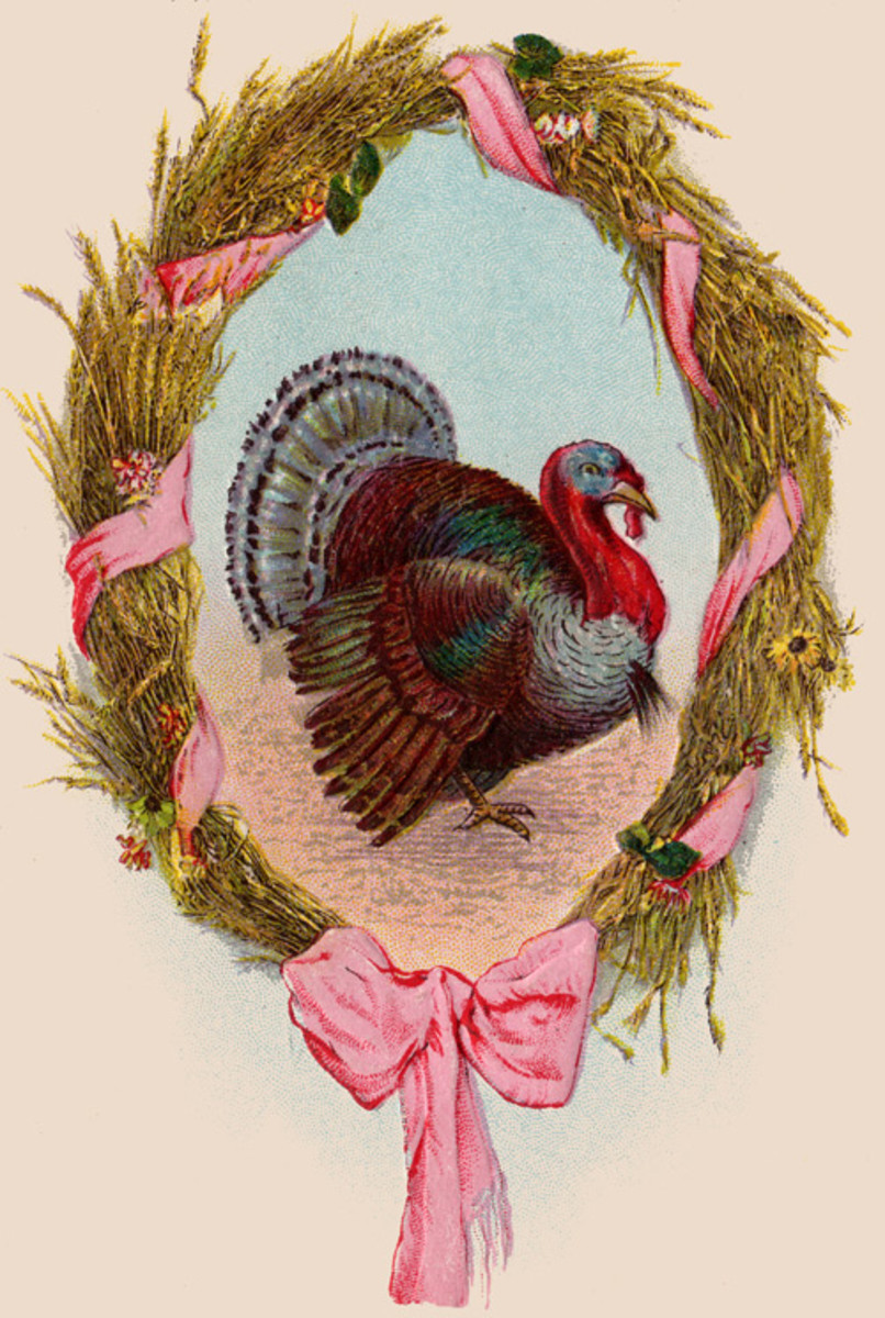 Turkey in Harvest Wreath