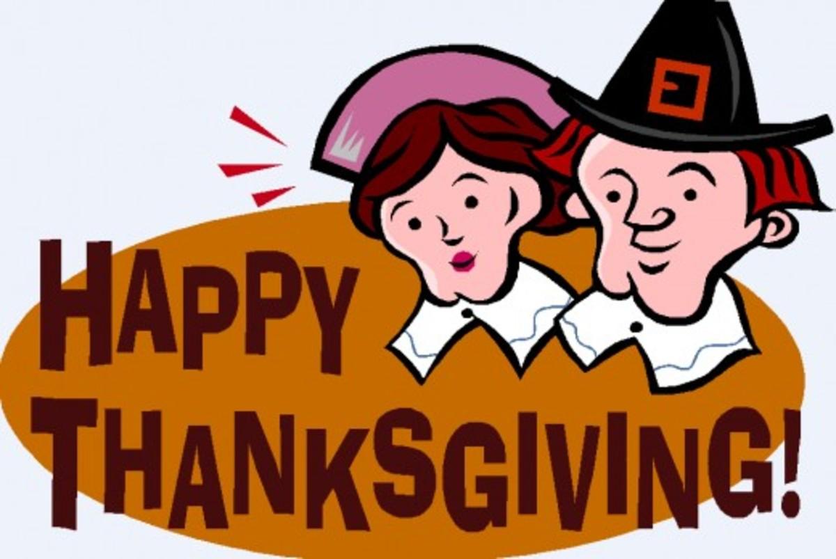 Pilgrims Saying 'Happy Thanksgiving'