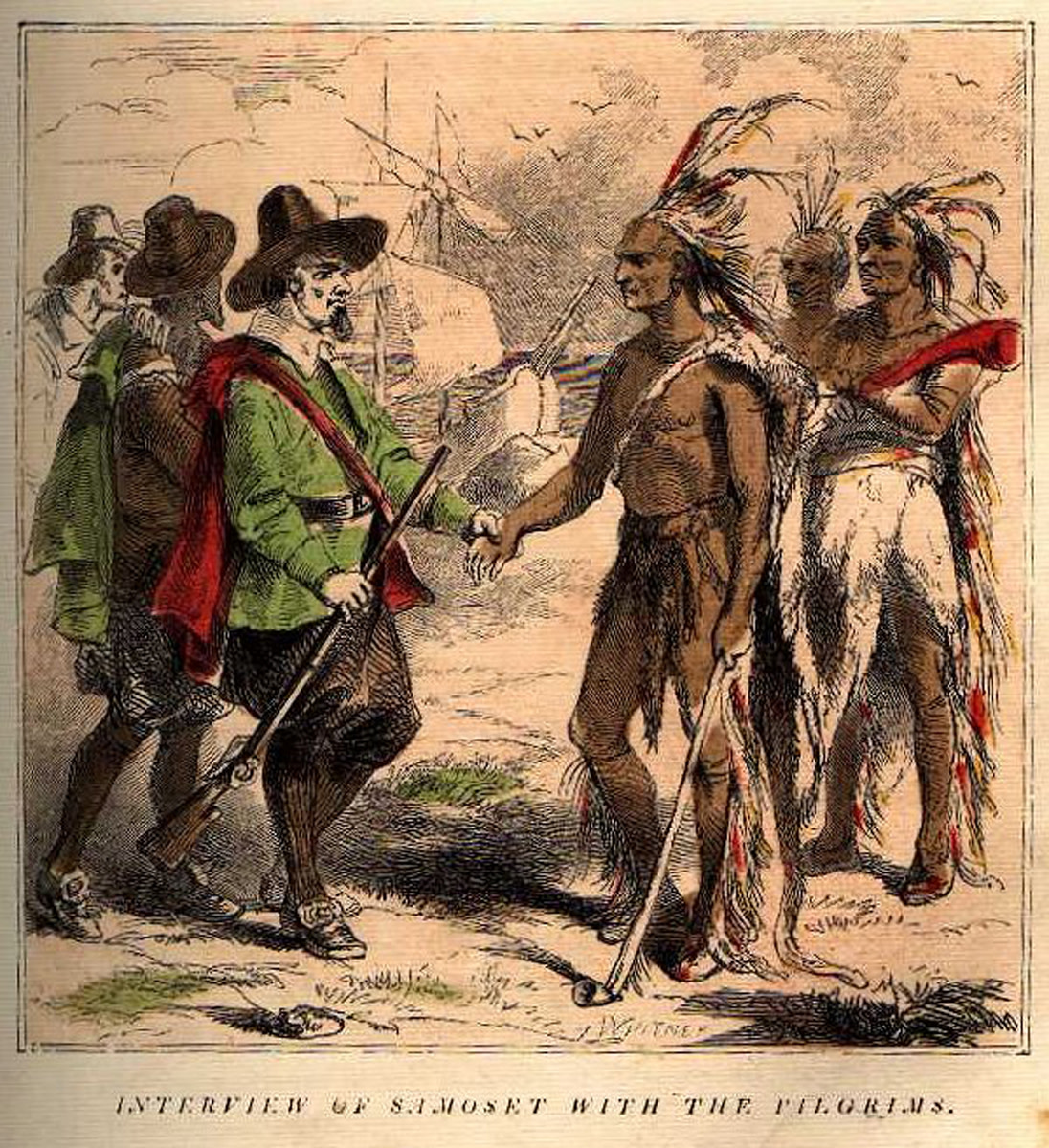 Artist Interpretation of Samoset Meeting the Pilgrims in 1622