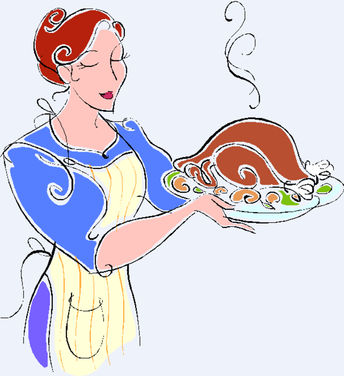 Hostess Carrying Turkey on Platter