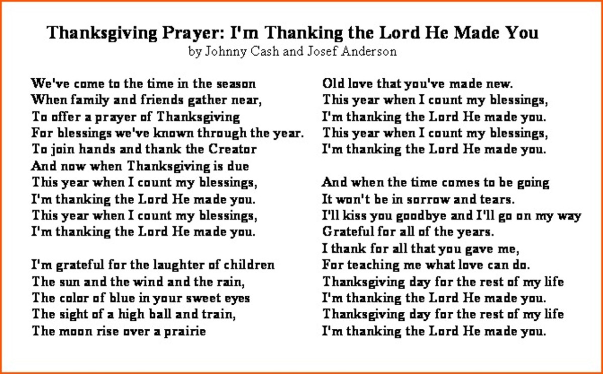 Thanksgiving Prayer by Johnny Cash