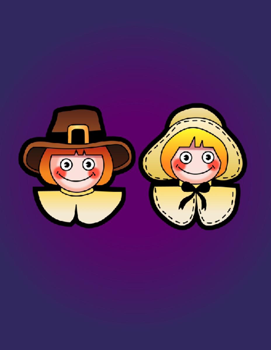 Smiling Man and Woman Pilgrims