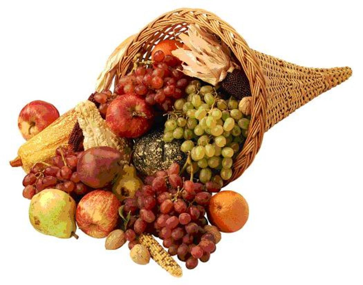 Cornucopia with Fruit and Indian Corn