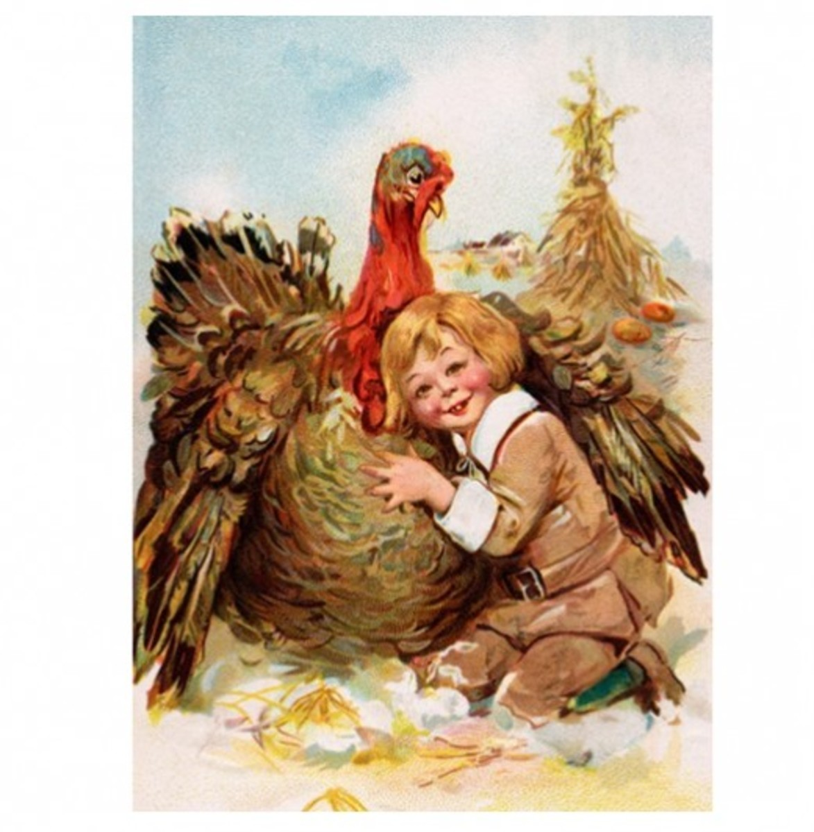Vintage Image of Pilgrim Boy with Holiday Turkey