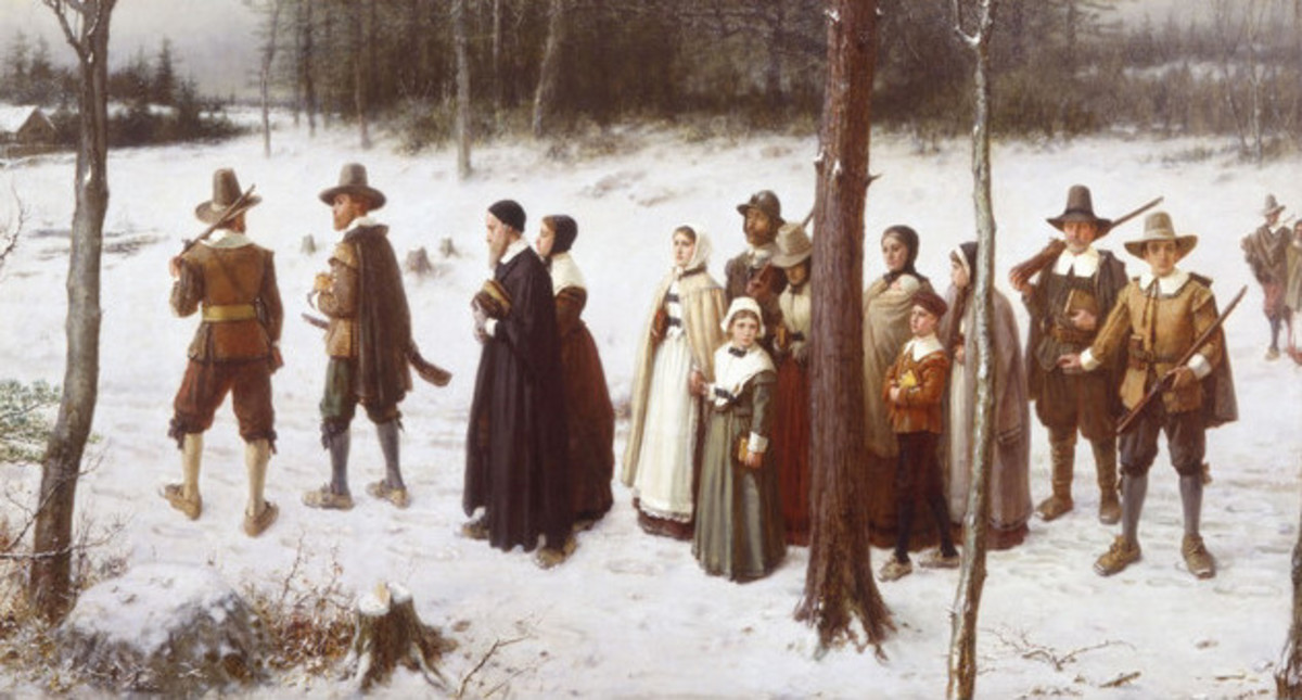 """Pilgrims Going to Church"" Painting"