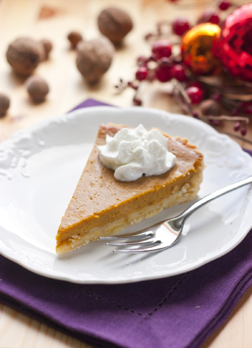 Pumpkin Pie Topped with Whipped Cream