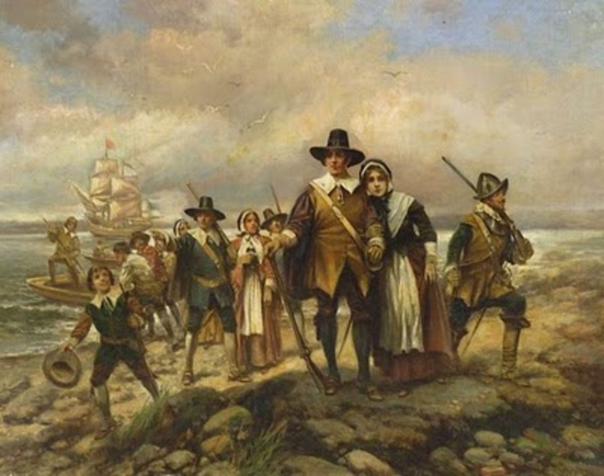 """Pilgrims Landing"" Painting with the Mayflower Ship in Background"