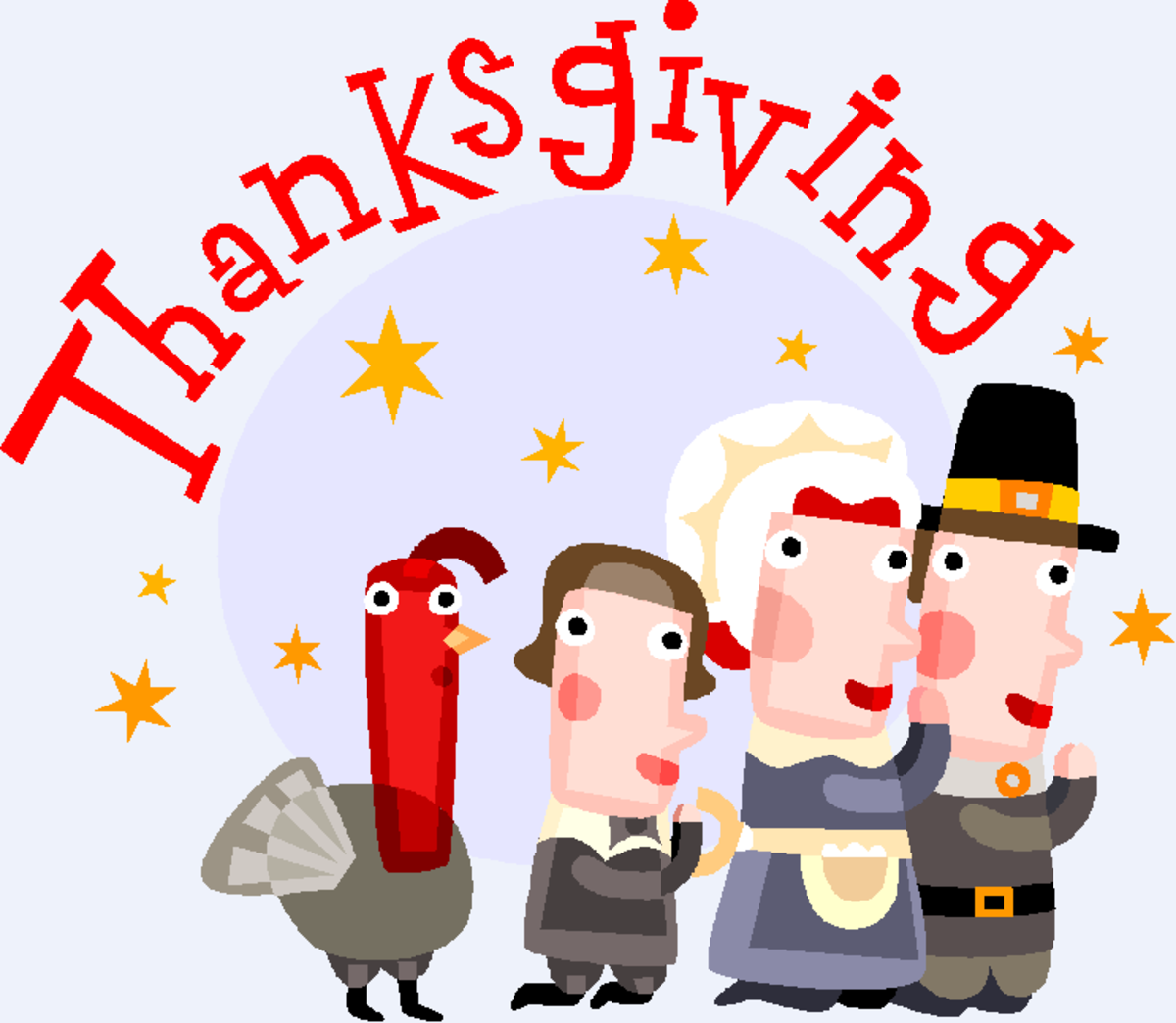 Pilgrims Saying Prayers of Gratitude