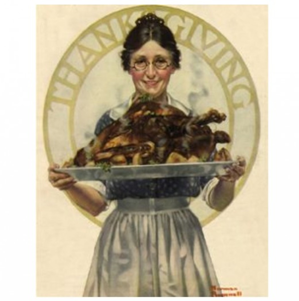 Hostess Serving Turkey on a Platter