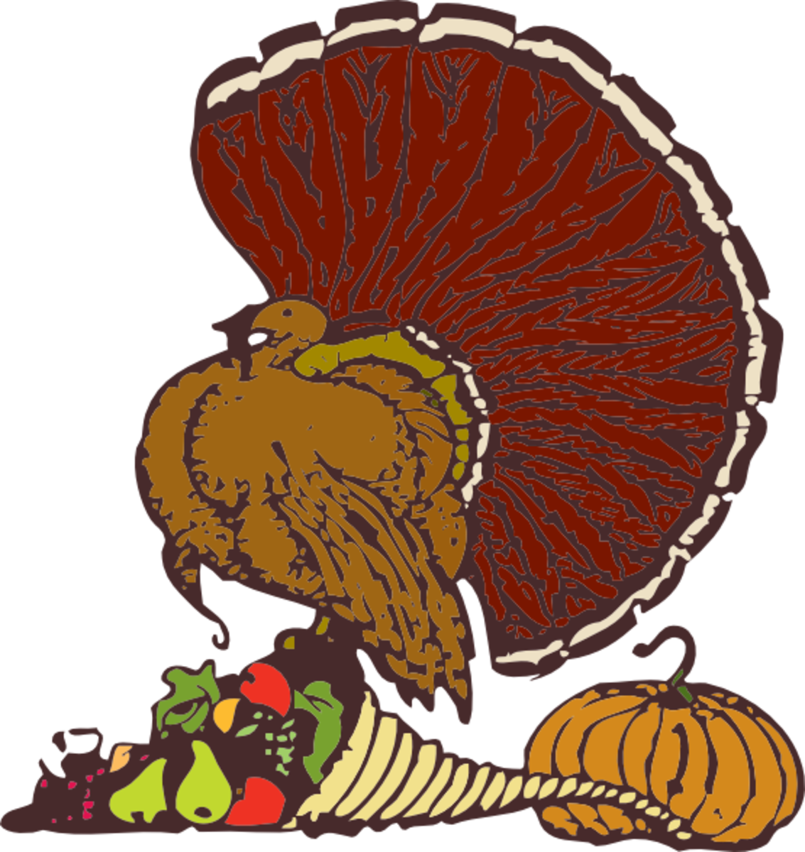 Thanksgiving Turkey, Cornucopia and Pumpkin