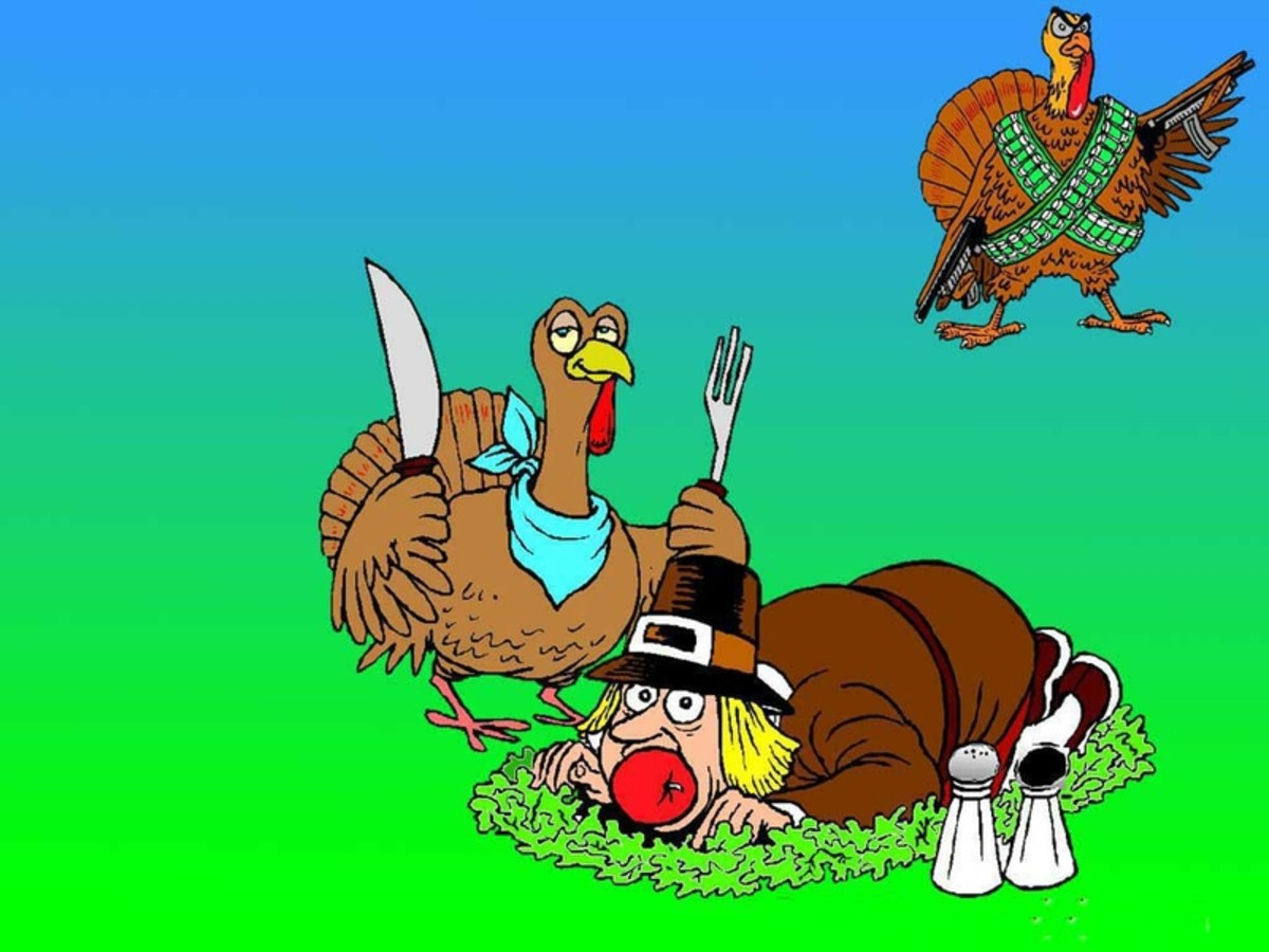 Funny Turkeys Roasting a Pilgrim