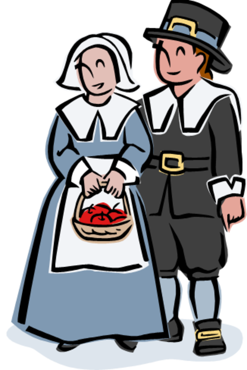 Pilgrim Couple With Basket of Apples
