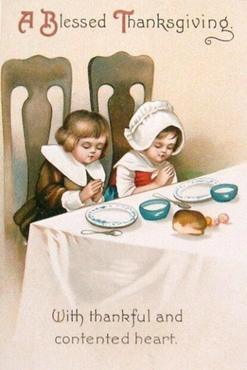 Pilgrim Children Saying Grace at Dinner