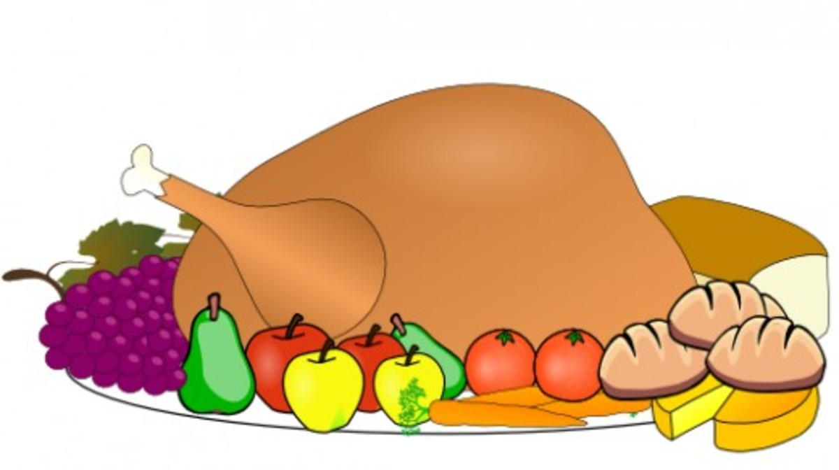 Thanksgiving Turkey with Fruit on Platter