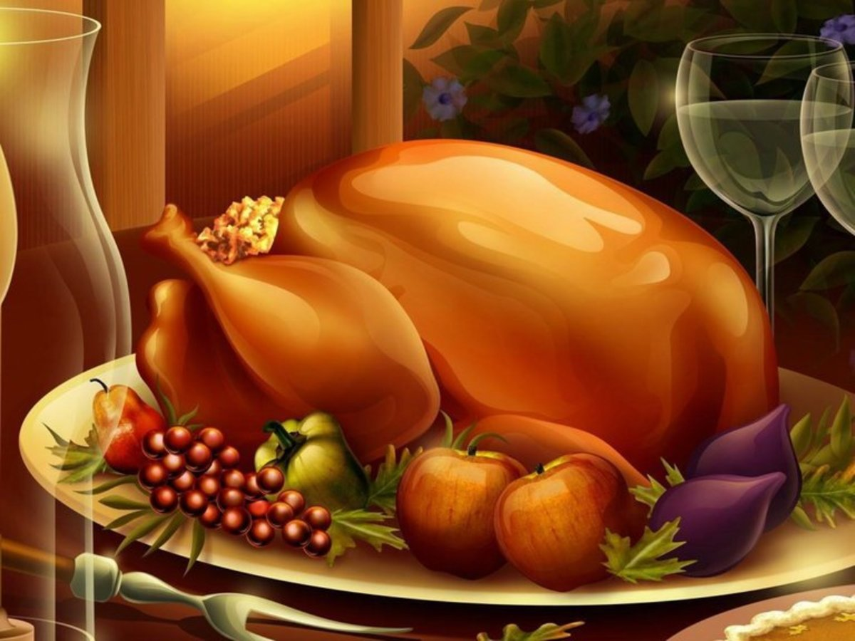 Turkey Roasted with Dressing on Platter with Fruit
