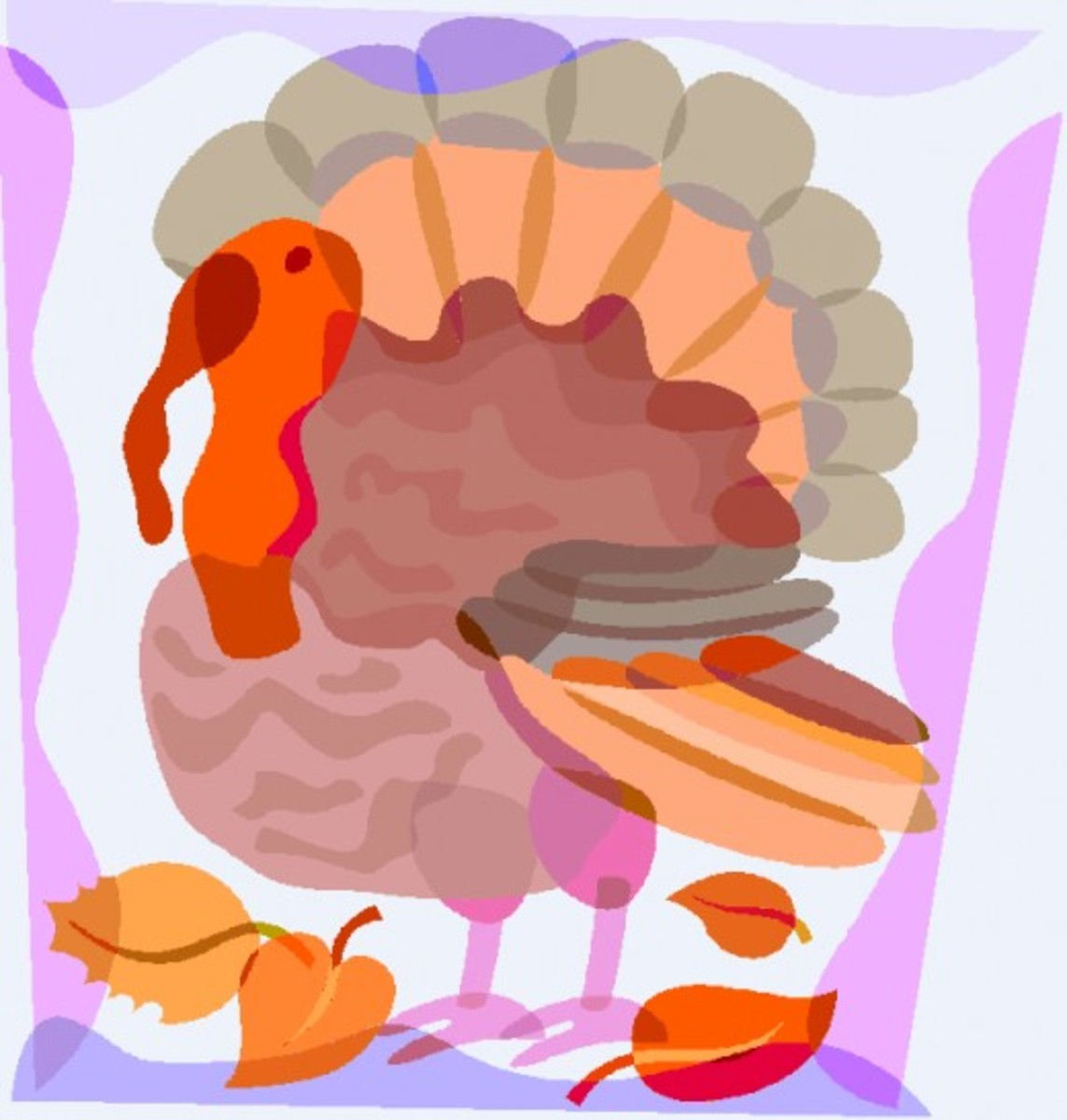 Turkey with Autumn Leaves