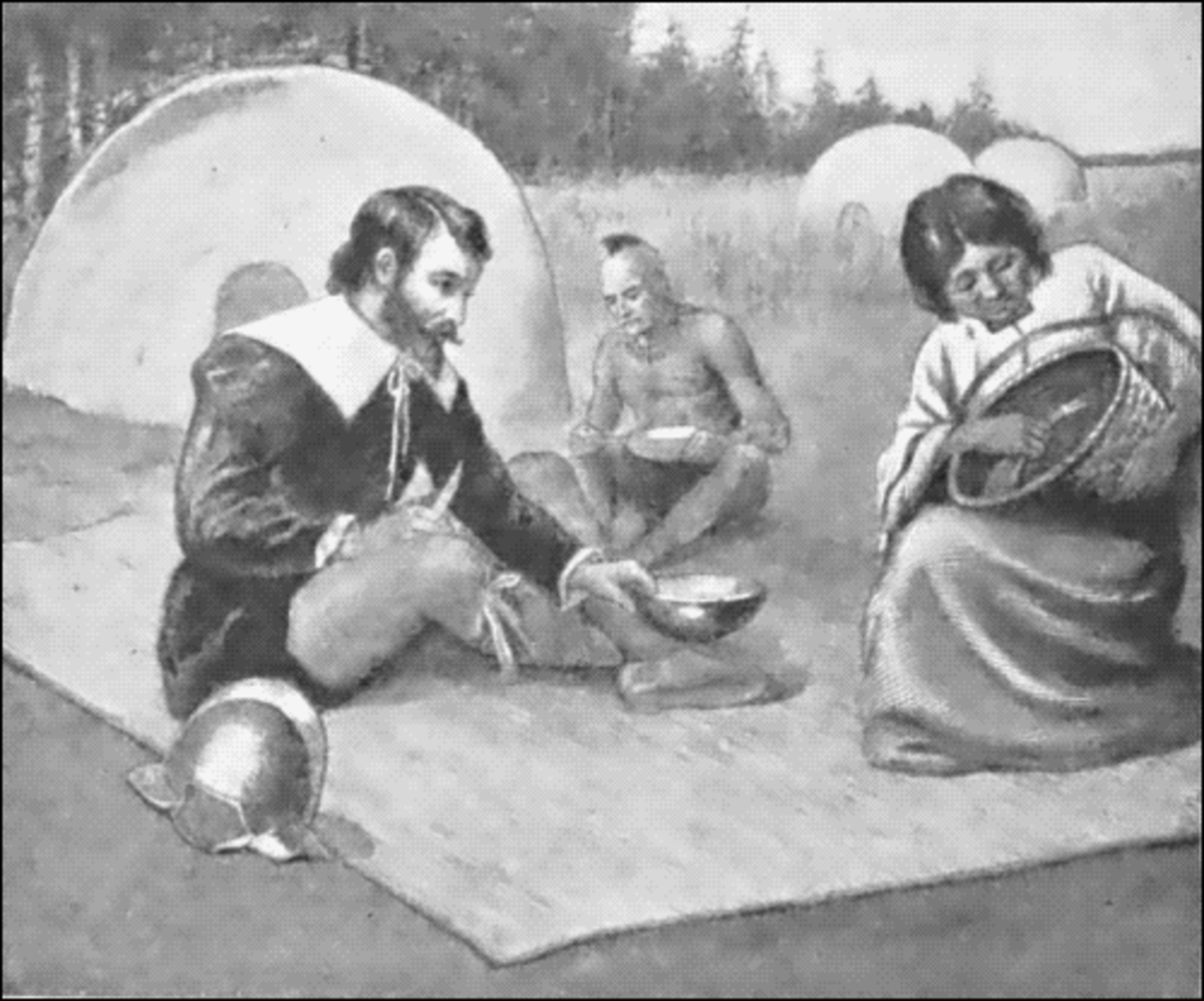 Henry Hudson feasting with the Indians in early 1600s