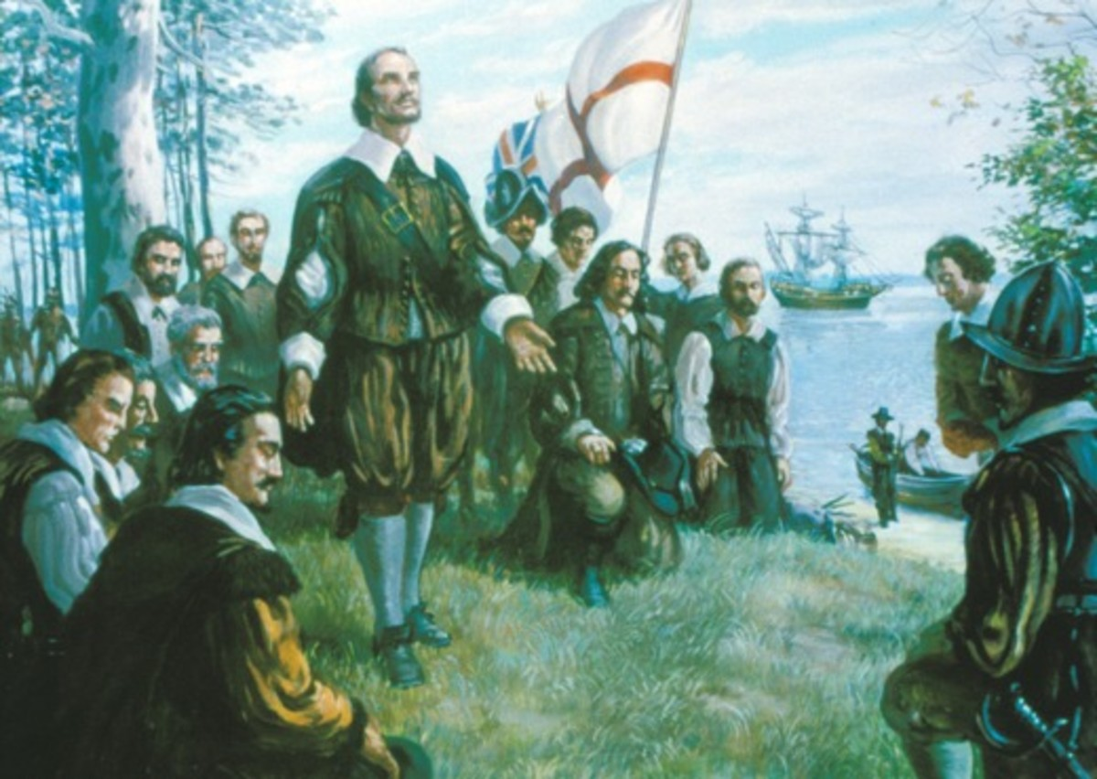 Captain John Woodleaf  leads the First Thanksgiving Prayer Service in 1619