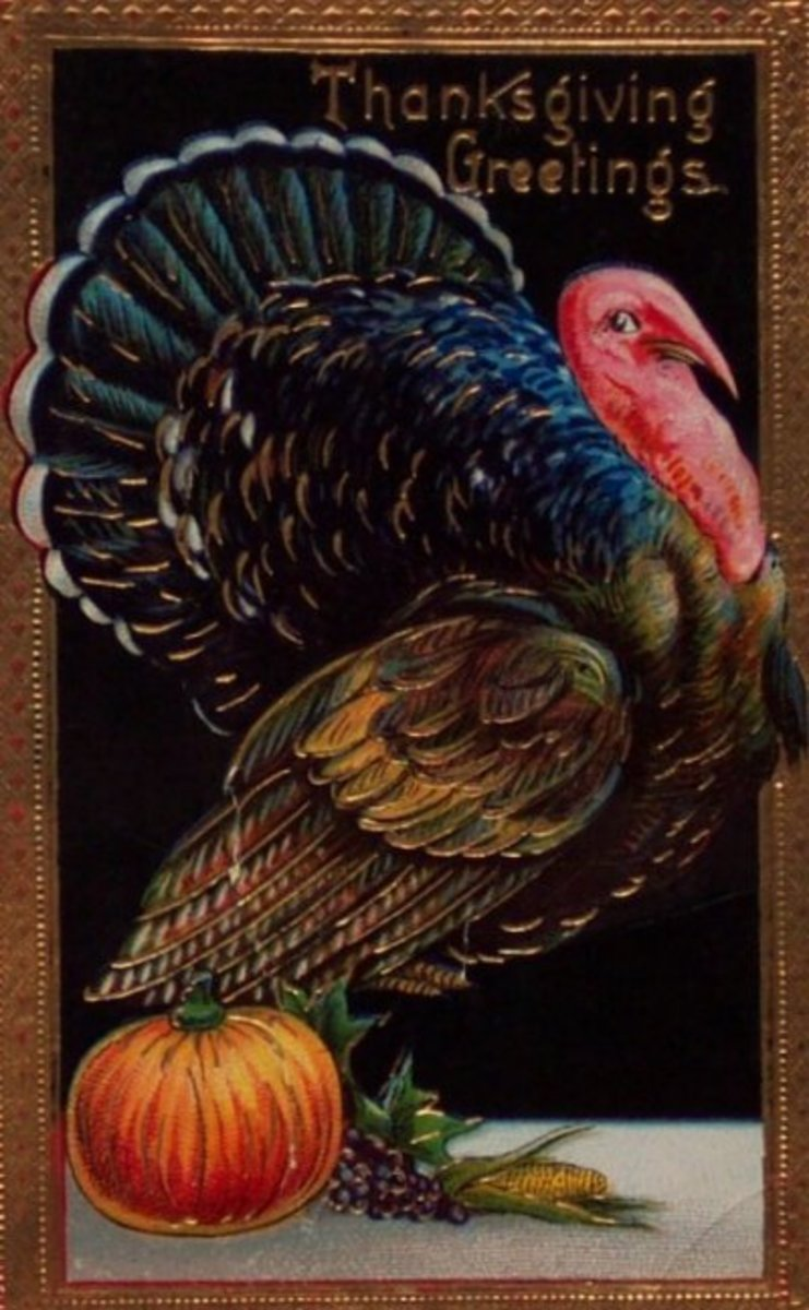 Thanksgiving Greetings with Classic Thanksgiving Image of Turkey