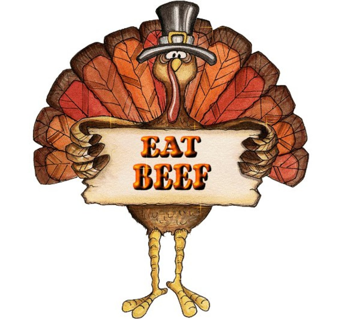 "Turkey with Sign to ""Eat Beef"""