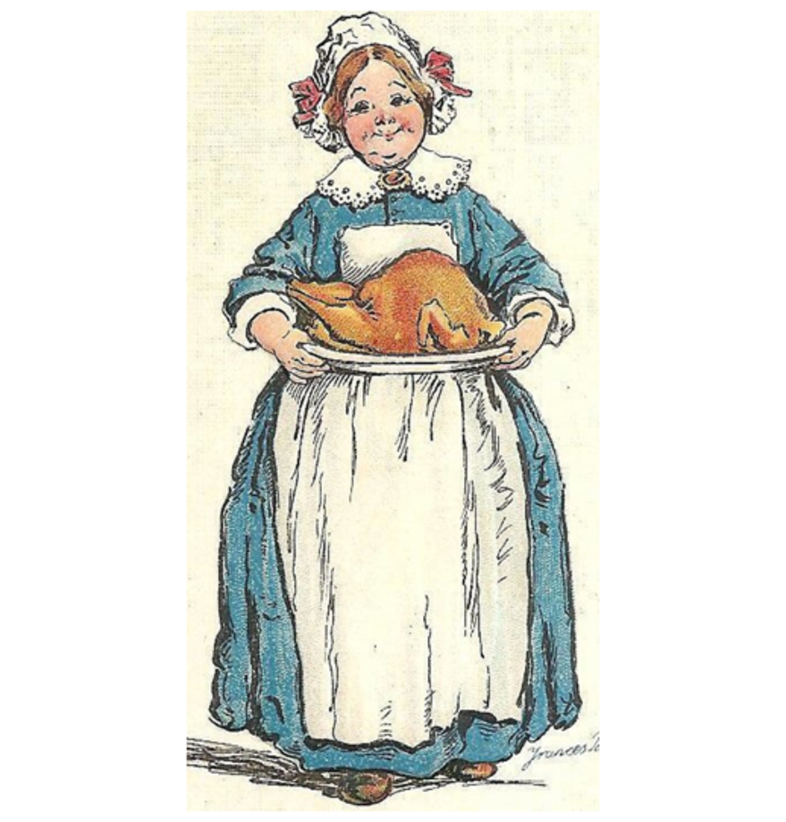 Early American Hostess with Turkey on Platter