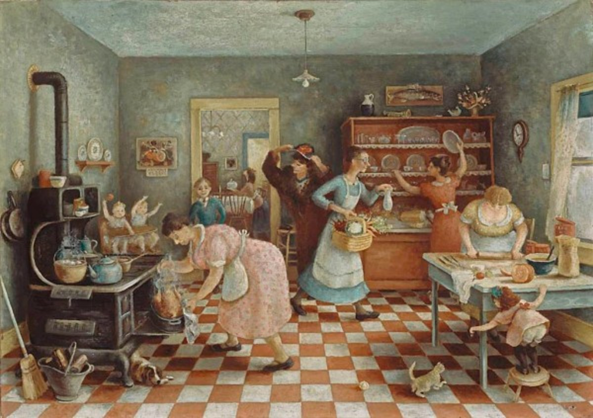 Preparing Thanksgiving Dinner in 1935, Painting During the Great Depression