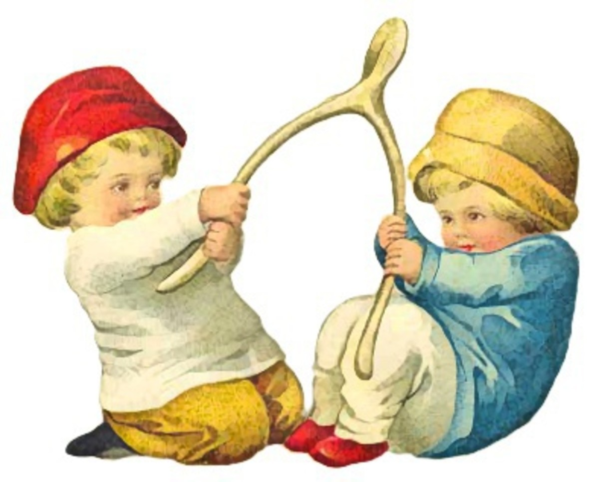 Children Pulling Turkey Wishbone