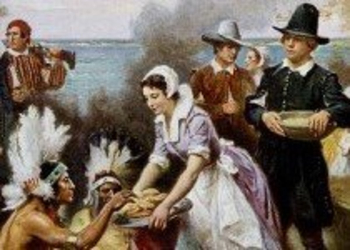 Pilgrims and Indians at Thanksgiving Meal